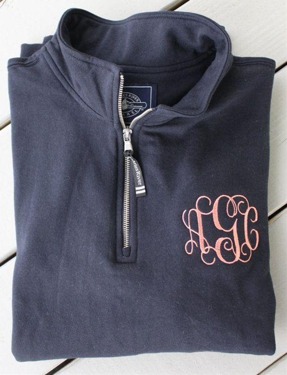 Monogrammed Quarter Zip Sweatshirt