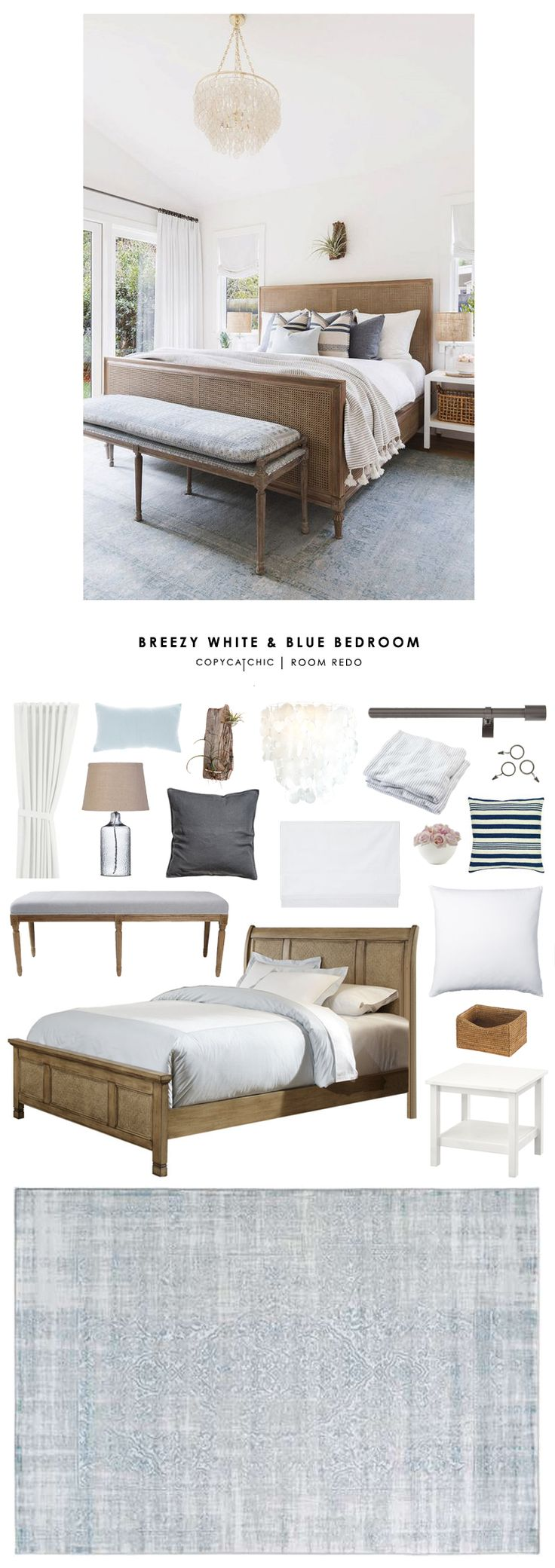 Copy Cat Chic Room Redo | Breezy White and Blue Bedroom