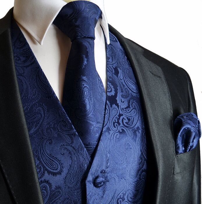 Midnight blue vests to match girls dresses with black tuxes
