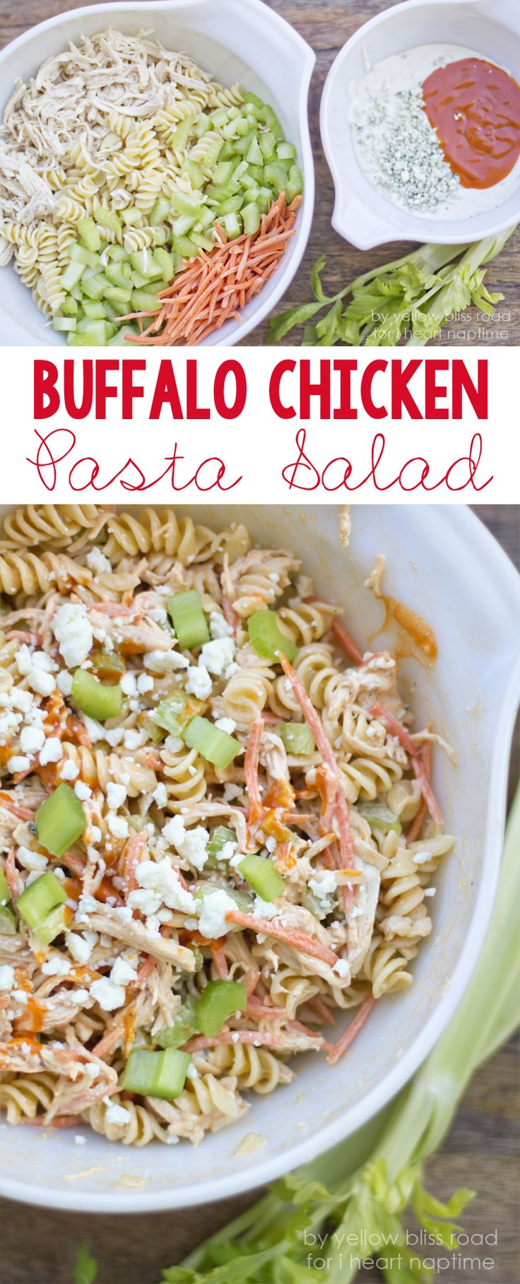 Love buffalo wings and pasta salad? Perfect recipe for you: Buffalo Chicken Pasta Salad!