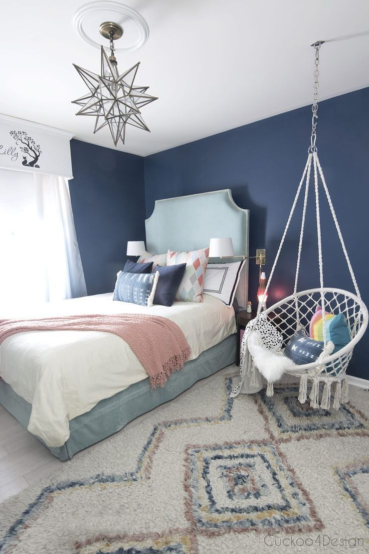 Dark Blue Teenage Girl Room With Turquoise Velvet Bed And Macrame