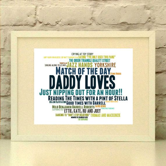 Personalised Fathers Day Print, Fathers Day Gift, Father Print, Personalised Dad Print, Dad Birthday Gift, Daddy Loves Print, Grandad Print  This item is a thoughtful and personal gift for the Dad in your life.  Please provide a list of 10-30 words and short phrases and your colour preferences and I will create you a bespoke piece for your special person.  You will be emailed a proof of your design to approve prior to printing.  UNFRAMED A4 PRINT. Frames for this size print are readily…