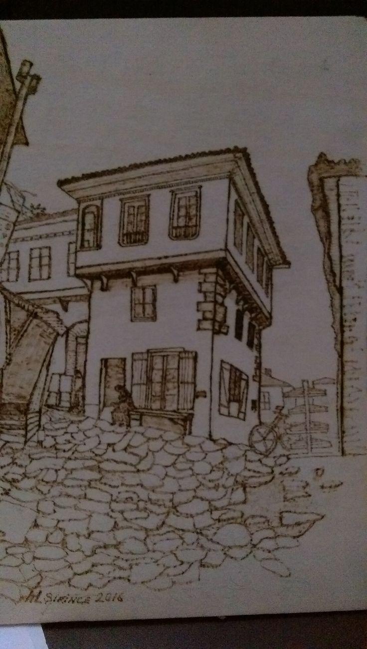 turkiye şirince evleri fotoğraftan ahşap yakma
