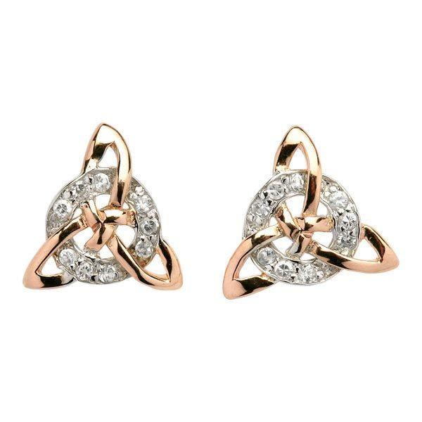 Trinity Knot 18 CZ Earrings