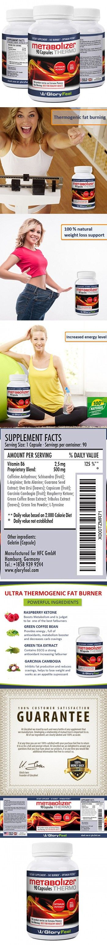 Gloryfeel METABOLISM BOOSTER Thermogenic Fat Burner Weight Loss Pills Diet Pills with Green Tea Raspberry Keton to lose weight Vitamin B6 to Increase Energy 90 Capsules