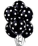 siyah beyaz puantiyeli balon 10 adet