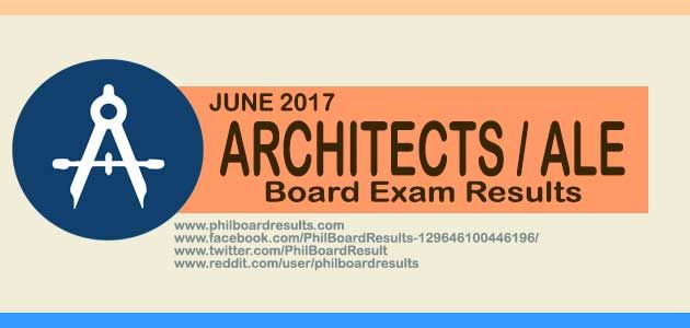 Full list of passers in the June 2017 Architects Board Exam Results (ALE) is shown below, officially given & released by PRC & Board of Architecture online