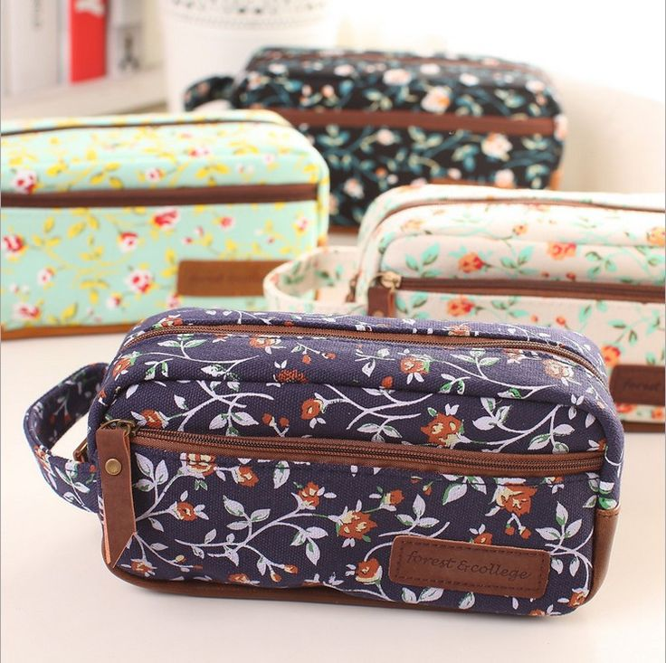 Vintage Rose Floral Korea creative stationery lovely large capacity canvas pencil case pencil bag Korean female students