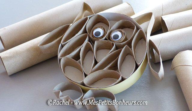 hibou bricolage rouleaux papier toilette