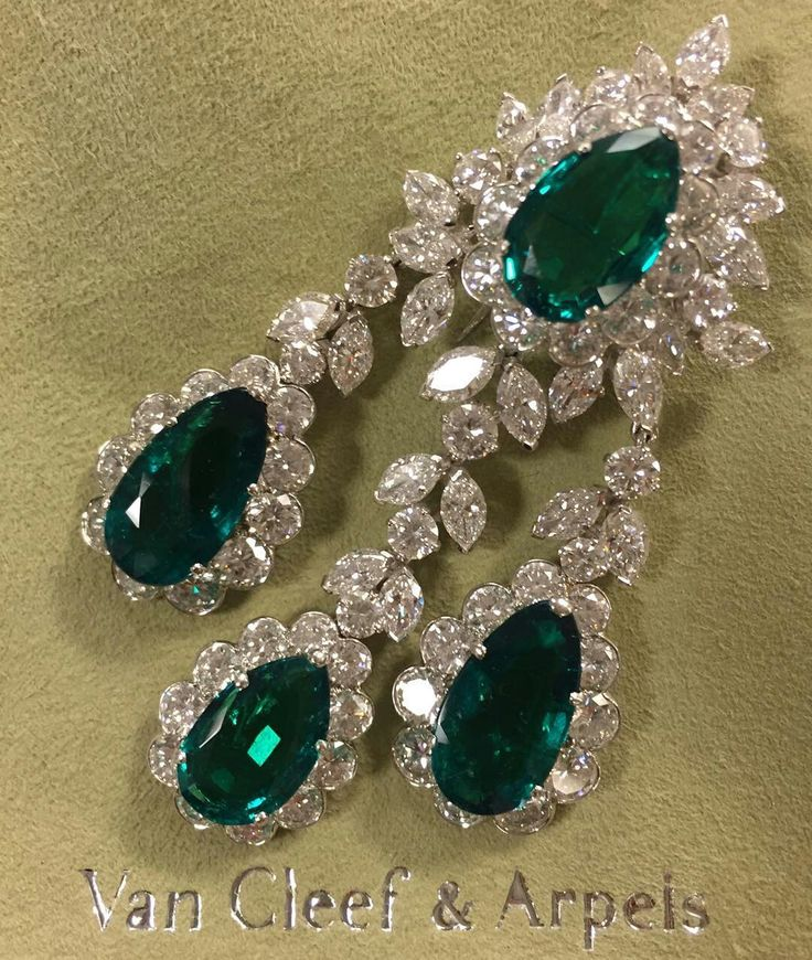 @mei_christies Green Is The Colour - Colombian Emerald and Diamond Brooch, by Van Cleef & Arpels. Lustrous verdant stones  #ChristiesJewels