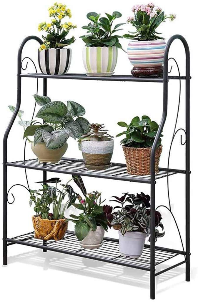 Amazon Com Ju Fu Flower Stand Flower Rack Flower Pot Plant Stand 3 Tier Metal Home Multifunction Indoor In 2020 Plant Shelves Outdoor Plant Stand Metal Plant Stand