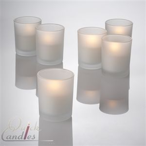 Set of 12 Flameless LED Tealights and 12 Frosted Holders