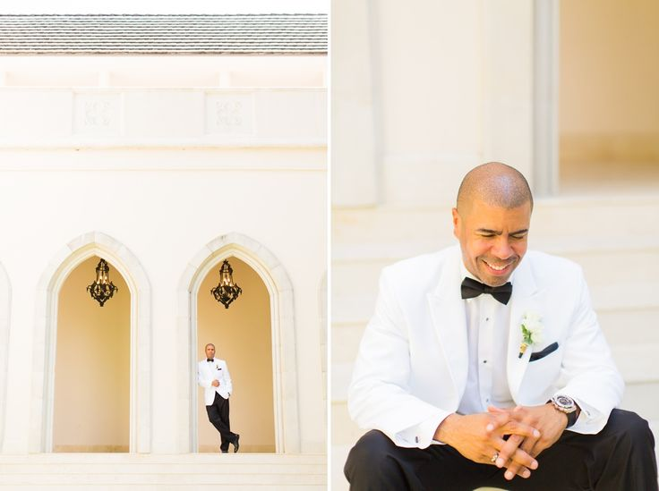 groom in white tux chateau cocomar