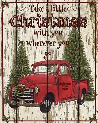 Primitive Red Truck Take A Little Christmas Chippy Shiplap