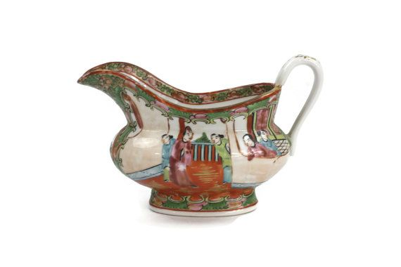 Antique Chinese Gravy Boat in Famile Rose Medallion