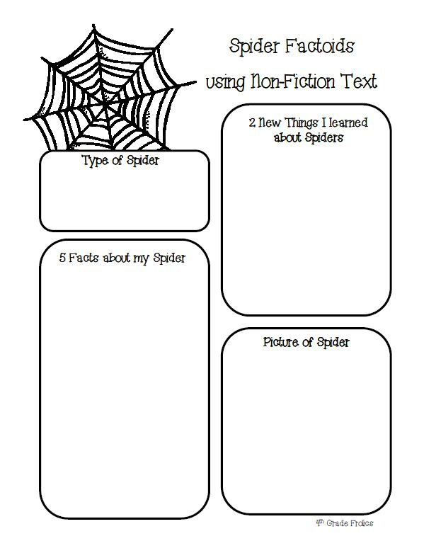 4th Grade Frolics: Freebie - Non-fiction text spider sheet to use in work on writing