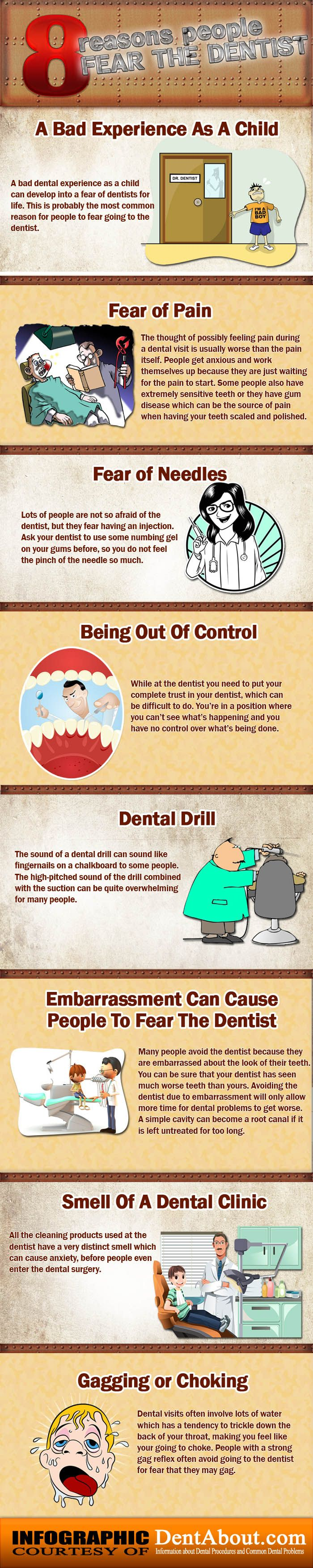 Have a bad experience as a child in the dentist? Fear of needles and dental drills? Here are 8 common reasons why people fear the dentist.
