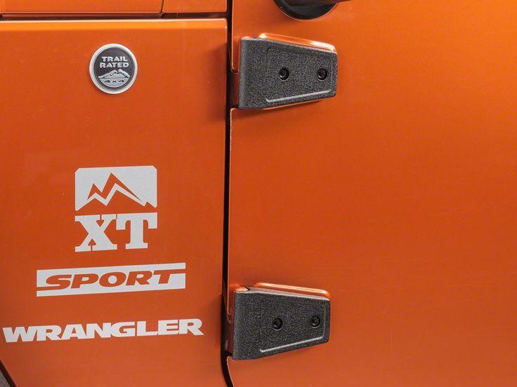 Rugged Ridge Door/Hood Hinge Covers - Textured Black (07-18 Wrangler JK 2 Door)
