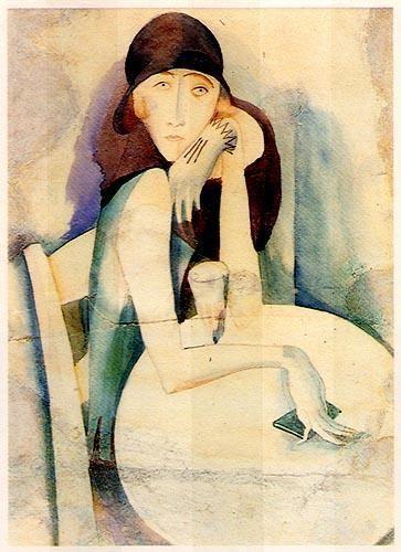 Mulher sentada.1920  Aguarela sobre papel.  350x230 mm   José de Almada Negreiros (1873 - 1970 )