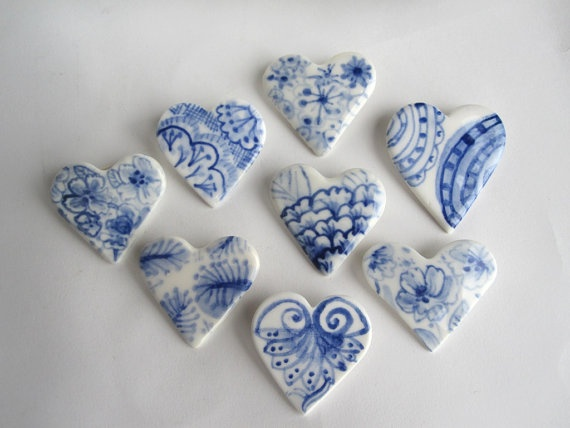 Handpainted Delft Porcelain Brooch  Heart by HarrietDamave on Etsy, $22.00