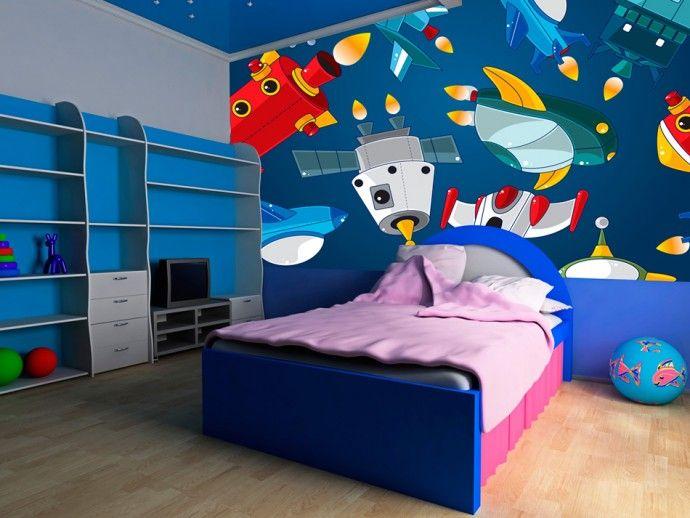 Fotomural de pared Astronave para habitación infantil. ¡Conoce la amplia colección de fotomurales de bimago. Diseños graciosos y originales para niños. ¡Fotomurales colores vivos!