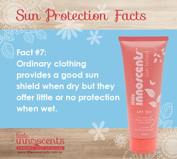 Did you know that ordinary clothing, such as regular t-shirts, can provide very little sun protection when wet? A very good reason to make sure that you always apply sun lotion and wear clothing with a certified SPF rating. #babycare #sunscreen