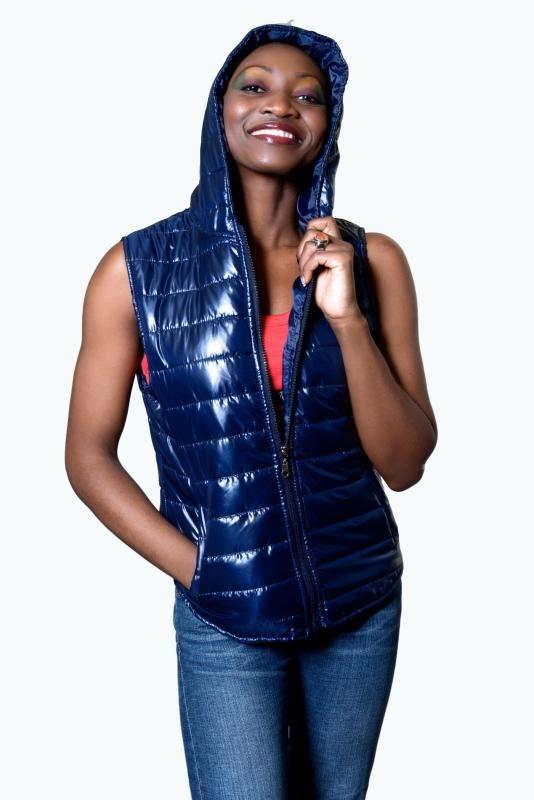 Doudoune jacket Bleu uni avec capuche