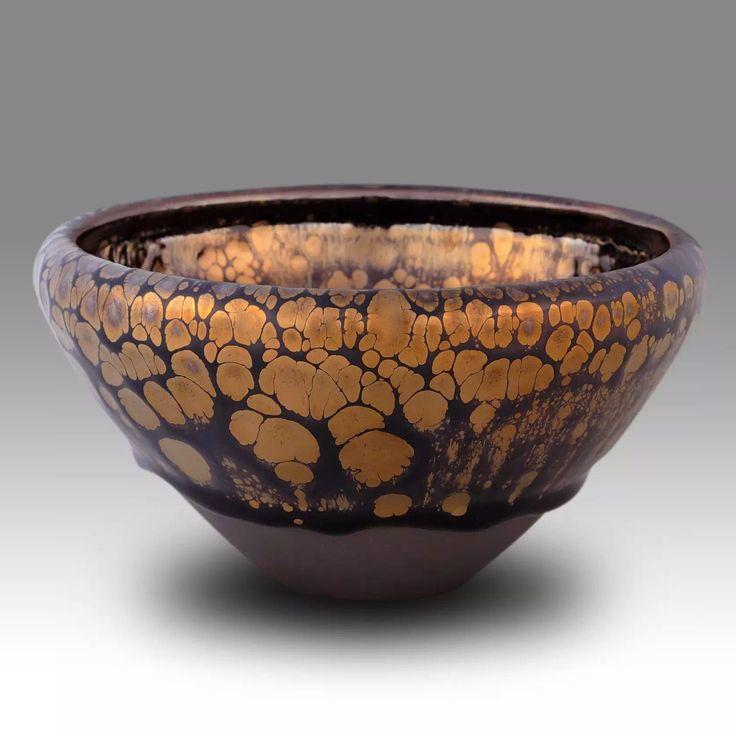 Chinese Jian Ware Tenmoku Golden Oil Spot Drops Tea Bowl Chawan 4
