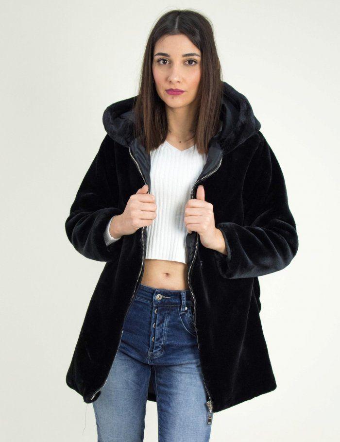522413415033 Γυναικείο μαύρο γούνινο ημίπλατο με φερμουάρ Benissimo 65795F  goynaki   gunaika  γυναικα  online