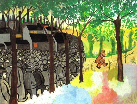 """Tilbage til naturen"" - Storm P.  ""Back to nature"" - By Robert Storm Petersen, danish artist, actor, writer and more.  Watercolor, 1945."