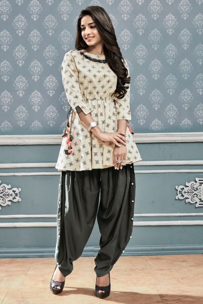 da94a8fb91 Wholesale Stylish Casual Wear Printed Cotton Short Kurti With Dhoti | Kurti  Supplier