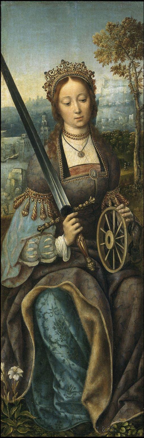 MAESTRO DE FRANKFURT RETABLO DE SANTA CATALINA IMAGEN DE LA SANTA 1510S