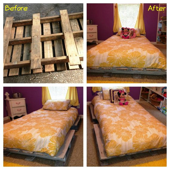 Full Bed And Queen Bed: Pallet Bed Frames Twin/Full/Queen By JoyfullyRemade On