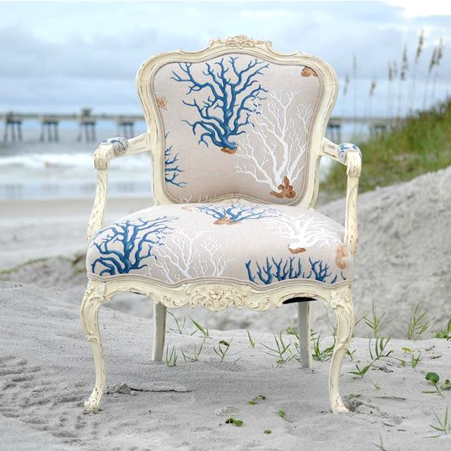 Blue Coral fabric upholstered French chair. Featured here: http://www.completely-coastal.com/2012/06/upholstering-chair-coastal-style.html