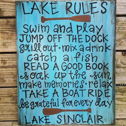 Hey, I found this really awesome Etsy listing at https://www.etsy.com/listing/205444112/lake-rules-lake-sign-lake-decor-lake