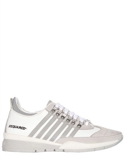 DSQUARED2 - 251 STRIPED LEATHER & SUEDE SNEAKERS - WHITE/GREY