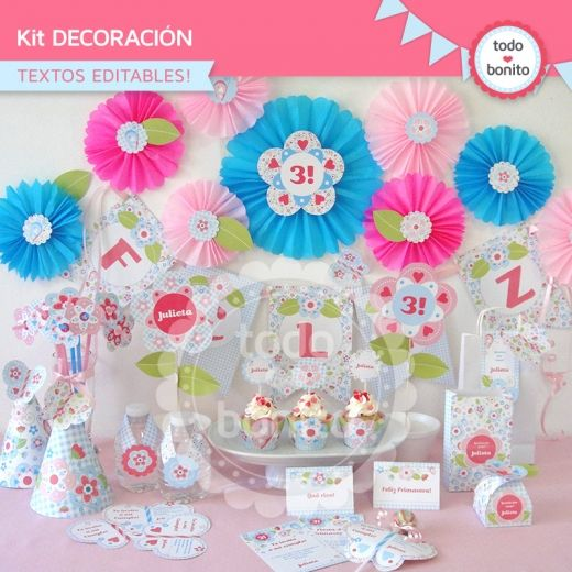 Flores y mariposas kit decoraci n fiestas infantiles - Decoracion con mariposas ...