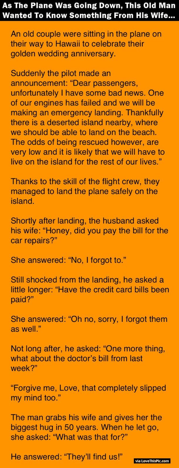 As The Plane Was Going Down, This Old Man Wanted To Know Something From His Wife.