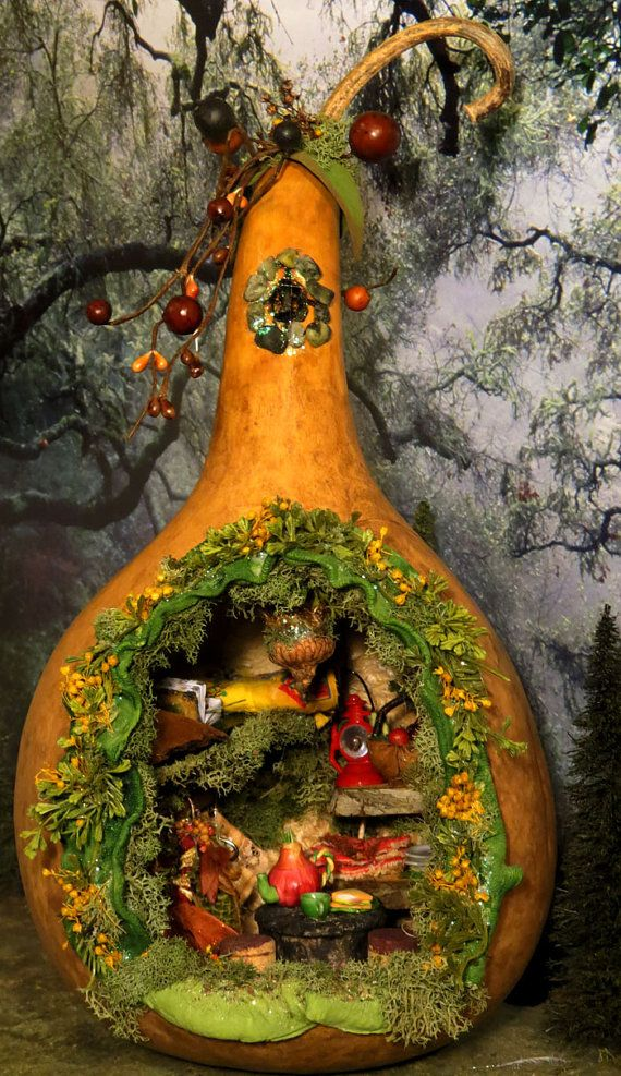 Fairy House A Fairy's Gourd Cottage by WoodlandFairyVillage, $68.00
