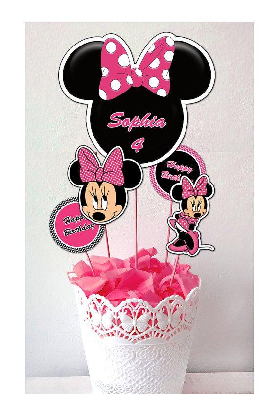 Centro de mesa de Minnie Mouse primeros de la torta por Printerama