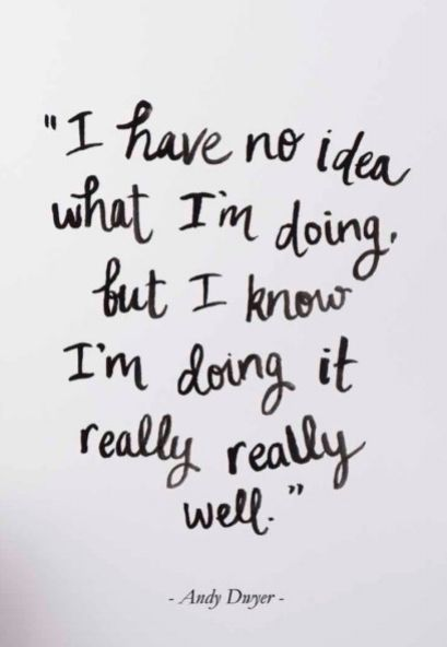 """""""I have no idea what I'm doing, but I know I'm doing it really really well."""" -Andy Dwyer"""