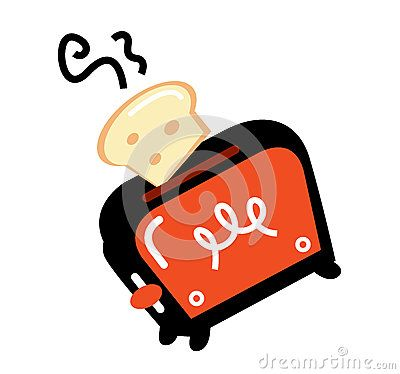 Retro toaster, vector illustration. Retro toaster orange and black color.