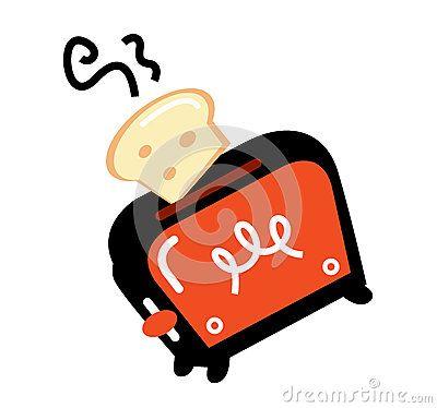 Retro toaster, vector illustration. Retro toaster orange and black color.