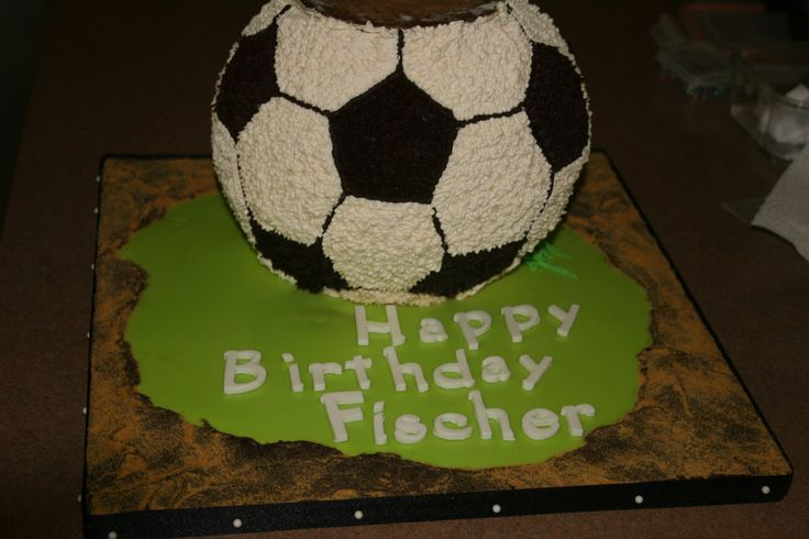 Soccer ball cake. Bottom layer of a three tiered cake. Cake was all natural colour due to a artificial colour sensitivity.