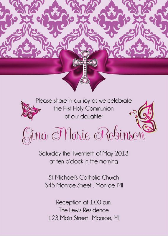 Girl's First Communion Invitation  DIY or by FabPartyPrints