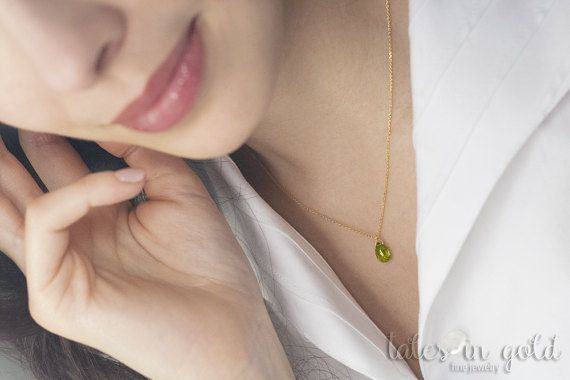 Gold Necklace, Peridot Pendant, 14 karat gold, Simple Everyday Jewelry, Peridot Drop, Semi-precious Stones, Single Stone Pendant, Gold Chain