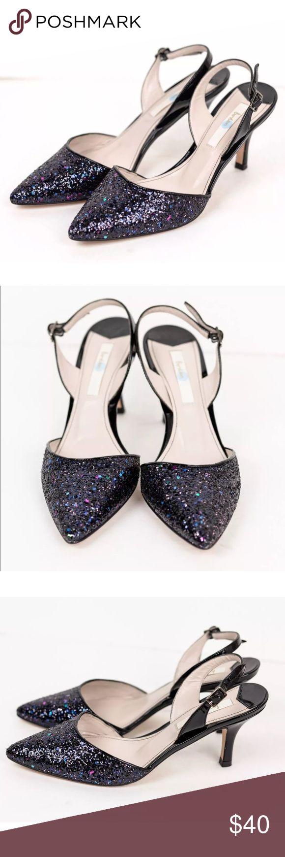 BODEN Slingback Black Glitter Iridescent Heels BODEN Slingback Black Glitter Iridescent Leather Heels Pumps Size 36 NWOB Boden Shoes Heels
