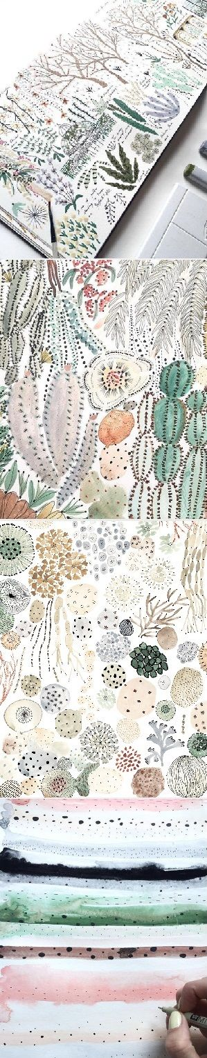 Soft colors, teeny-tiny dots and details in the beautiful work of Sara Boccaccini Meadows, on the blog!