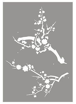Japanese Blossom Stencil Japanese Blossom Branch Stencil