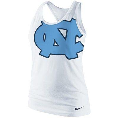 Nike North Carolina Tar Heels (UNC) Ladies Logo Tri-Blend Racerback Tank Top - White